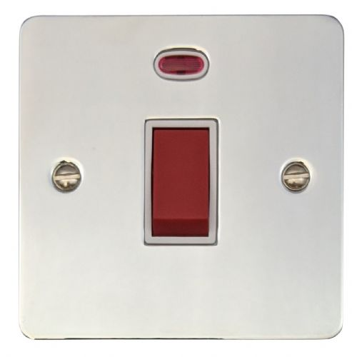 G&H FC46W Flat Plate Polished Chrome 45 Amp DP Cooker Switch & Neon Single Plate